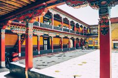 View of the Jokhang monastery near Lhasa in central Tibet royalty free stock photo