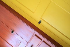Red and Yellow Shaker Door. This is a Red and Yellow Shaker Style Door Abstract Stock Photography