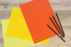 Red and yellow sheets of paper Royalty Free Stock Photo