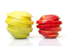 Red and Yellow Sliced Apple Stock Images