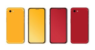 Red and yellow Smartphone Mockup with Blank Screen Isolated. Realistic Front and Back View stock photos
