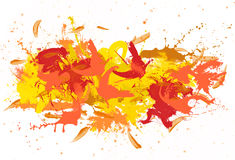 Red and yellow spatters on the white fond. Royalty Free Stock Photography