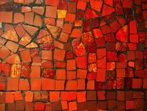 Red and yellow stone mosaic stock photo