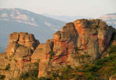 Red and yellow stone cliff and rock in Beogradchik, Bulgaria Royalty Free Stock Image