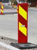 Red and yellow striped caution road sign Royalty Free Stock Image