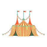 Red And Yellow Stripy Circus Tent, Part Of Amusement Park And Fair Series Of Flat Cartoon Illustrations. Isolated Object Related To Theme Park Entertainment stock illustration