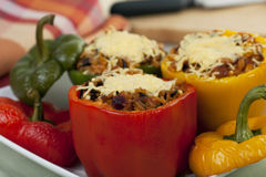 Red and Yellow Stuffed Peppers Stock Photography