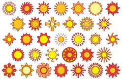 RED & YELLOW SUNS filled line icons. This is a set of Suns Filled Line Icons Royalty Free Stock Photography