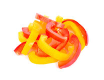 Red and yellow sweet bell pepper slices Stock Images