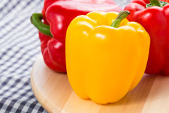 Red and Yellow sweet bell peppers Stock Photo