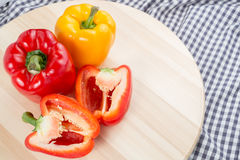 Red and Yellow sweet bell peppers Stock Photography