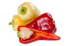 Red and yellow sweet pepper Stock Photos