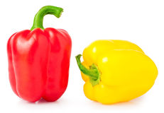 Red and yellow sweet pepper isolated on white background Stock Photo