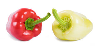 Red and yellow sweet peppers isolated on white background Stock Photography