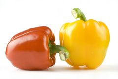 Red and yellow  sweet peppers Stock Photo