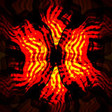 Red yellow swirl fractal elements on black background. Fire magic objects. Abstract  illustration Royalty Free Stock Photo