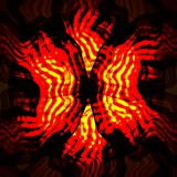 Red yellow swirl fractal elements on black background. Fire magic objects. Raster copy Royalty Free Stock Images