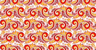 Red and yellow swirls and berries seamless pattern in Russian khokhloma style. Vector red and yellow swirls and berries seamless pattern in Russian khokhloma Royalty Free Stock Image