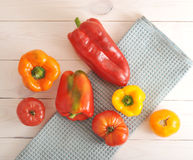 Red and yellow tomatoes and bell pepper Royalty Free Stock Image