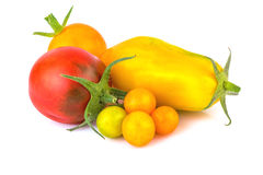 Red and Yellow Tomatoes Over White Royalty Free Stock Photos