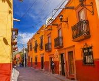 Red Yellow Town Street Tourists San Miguel de Allende Mexico Stock Photos