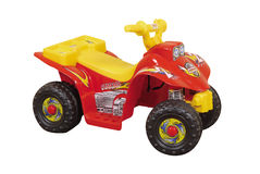 Red yellow toy car Stock Photo