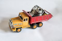 Red and yellow toy truck stock image