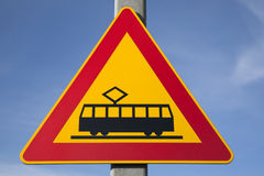 Red and Yellow Tram Sign Royalty Free Stock Images