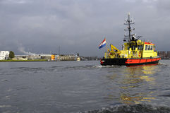 Red and yellow trawler in Amsterdam Royalty Free Stock Image