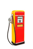 Red and yellow vintage gasoline fuel pump with clipping path Stock Photos