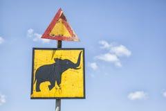 Elephant warning sign in Zimbabwe royalty free stock photos