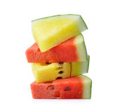 Red  and yellow water melon on white background Stock Photography