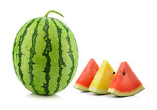 Red yellow water melon on white background Stock Photo