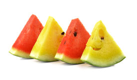 Red yellow water melon on white background Stock Images