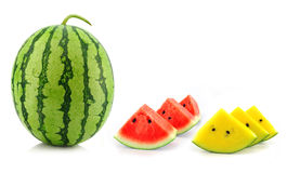 Red yellow water melon on white background Stock Photography