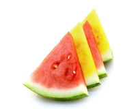 Red and yellow watermelon. On white background Royalty Free Stock Image
