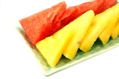Red and yellow watermelon royalty free stock photos