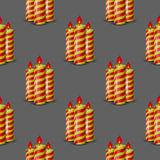 Red Yellow Wax Candles Seamless Pattern. Isolated on Grey Background. Burning Candles Set Royalty Free Stock Image