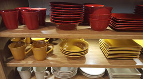 Dishes on display royalty free stock photography