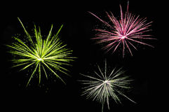 Red, yellow and white fireworks stock photos