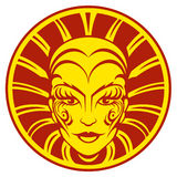 Red yellow woman`s face with tribal ornaments and sun rays on background.  Royalty Free Stock Images