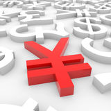 Red yen sign around another currency signs. Royalty Free Stock Photo