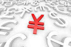 Red yen sign around another currency signs. stock photos