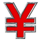 Red Yen Sign in Chrome 12 inches with paths Royalty Free Stock Image