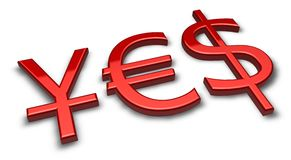Red yes. Red money symbols - euro, U.S, dollar, Yen Royalty Free Stock Photos