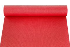 Red yoga mat isolated on white background. The Red yoga mat isolated on white background Royalty Free Stock Photos
