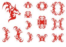 Red young dragon symbols Royalty Free Stock Photos