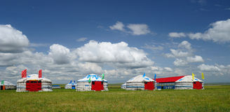 Red Yurts Stock Photos