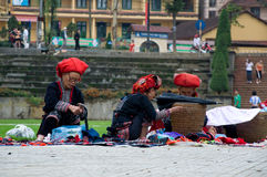 Red Zao women at work Royalty Free Stock Image