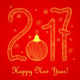 Red zen New year`s card  2017 gold Stock Images